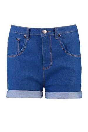 High Waisted Turn Up Denim Shorts | Boohoo