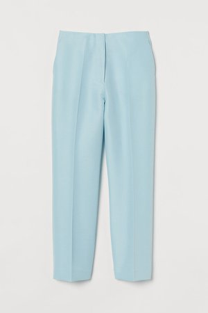 Wool-blend Ankle-length Pants - Turquoise