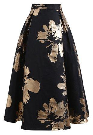 Golden Blossom Jacquard A-Line Midi Skirt - Retro, Indie and Unique Fashion