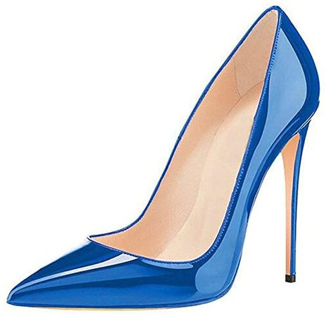 Amazon.com | GENSHUO Women Fashion Pointed Toe High Heel Pumps Sexy Slip On Stiletto Dress Shoes 12cm-RB-12 Royal Blue | Pumps