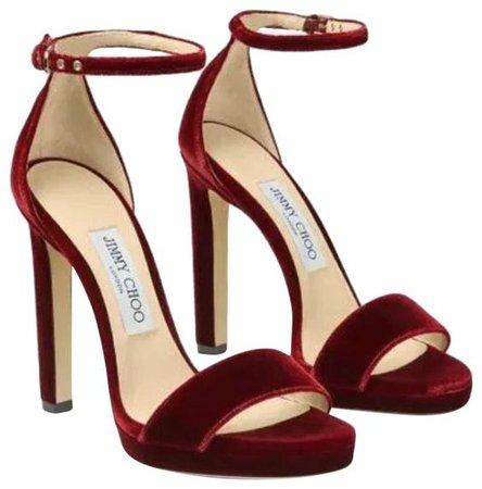 jimmy choo burgundy red heels pumps
