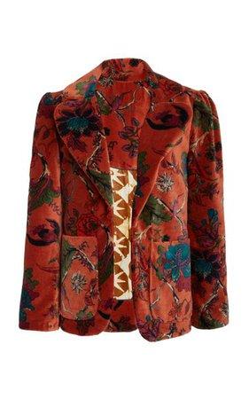 Hardy Cinnamon Print Velvet Blazer By Alix Of Bohemia | Moda Operandi