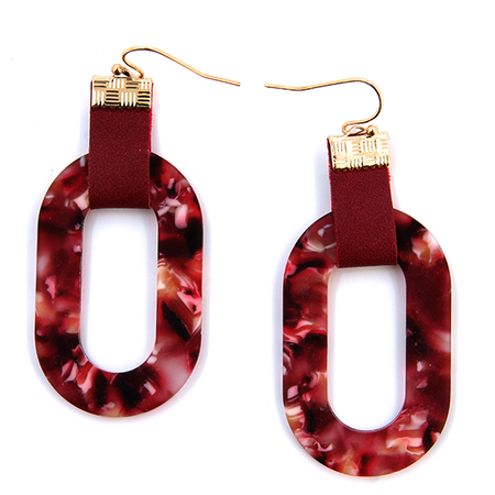 Earring 1185p 25 Tell Your Tale oval hoop leather dangle resin burgundy - SWTrading