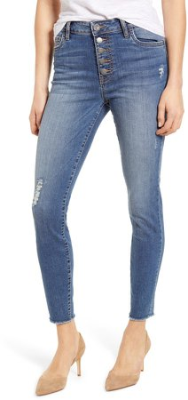 Connie High Waist Distressed Fray Hem Ankle Skinny Jeans