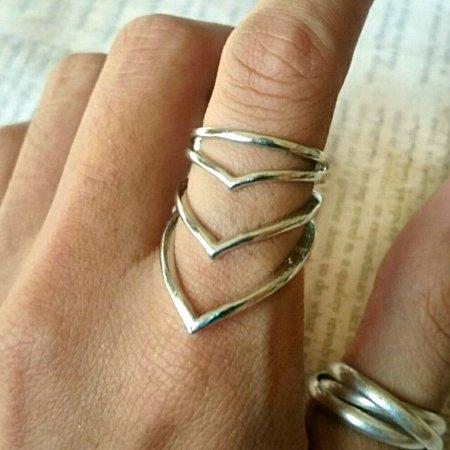 New ring chevron triple triangle gold... - Depop
