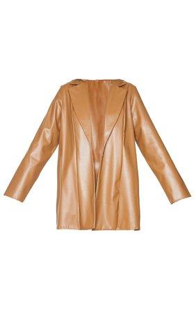 Tan Longline Lapel Detail Faux Leather Blazer | PrettyLittleThing USA