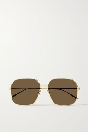 Gold Hexagon-frame gold-tone sunglasses | Bottega Veneta | NET-A-PORTER