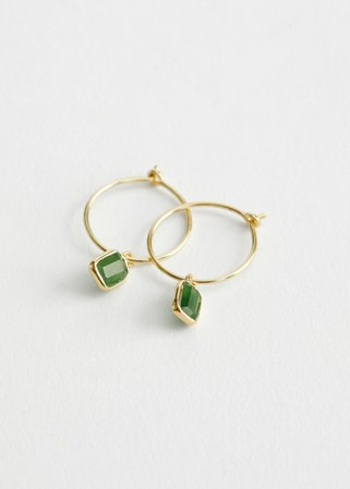 Stone Pendant Hoop Earrings - Green Stone - Hoops - & Other Stories