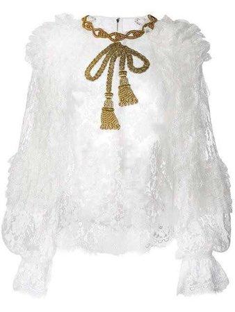 DOLCE & GABBANA  embellished bow lace blouse