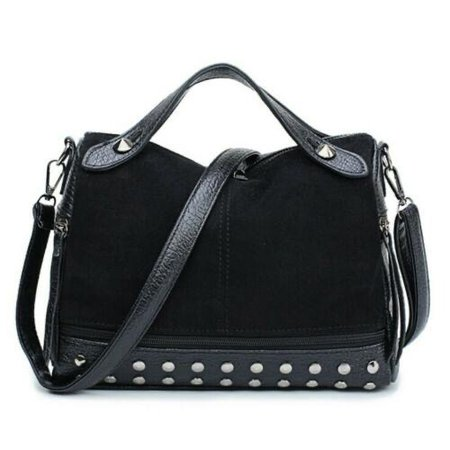 Ella Black Duffel Tote Bag