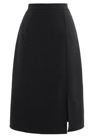 Side Slit Midi Pencil Skirt in Black - Retro, Indie and Unique Fashion