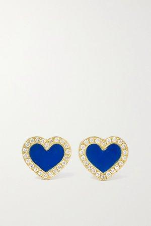 Gold Extra Small Heart 18-karat gold, lapis lazuli and diamond earrings | Jennifer Meyer | NET-A-PORTER