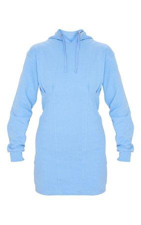 PASTEL BLUE PLEATED HOODIE SWEATER DRESS