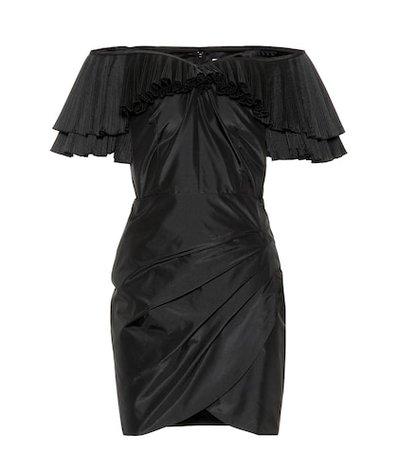 Ruffled silk-blend minidress