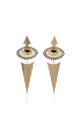 14k Yellow-Gold And Diamond Eye Earrings By Lito | Moda Operandi