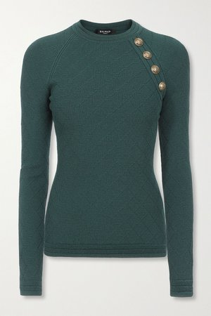 Emerald Button-embellished jacquard-knit sweater | Balmain | NET-A-PORTER