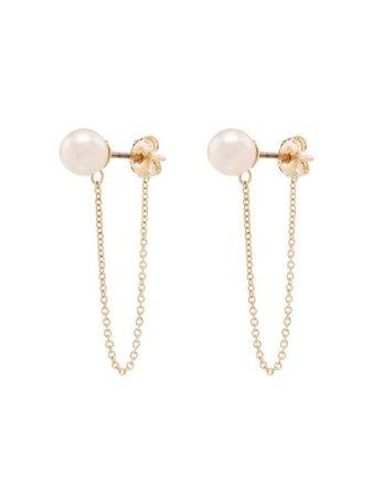 Mateo 14kt gold pearl chain earrings PCE01 - Farfetch