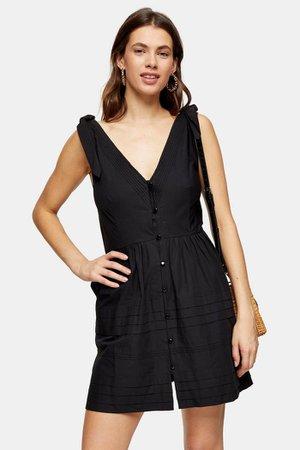 Black Pintuck Button Mini Dress   Topshop