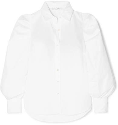 Ruched Cotton-poplin Shirt - White