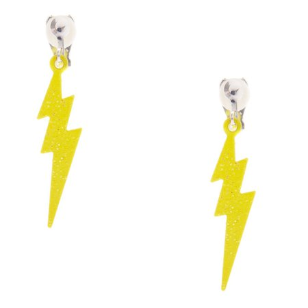 Lightning Bolt Clip On Earrings - Neon Yellow | Claire's