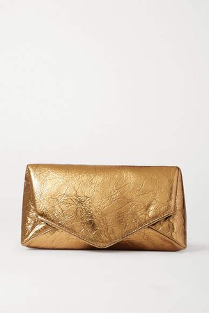 Envelope Metallic Crinkled-leather Clutch - Gold