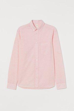 Regular Fit Cotton Shirt - Pink melange - Men   H&M US