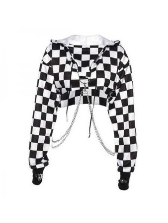 checkered cropped hoodie + chain