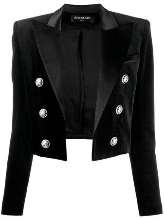 Black Balmain Velvet Cropped Blazer | Farfetch.com