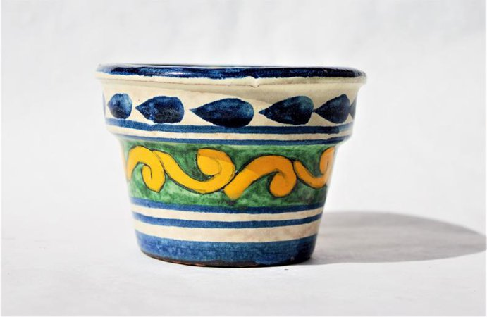 Small Blue Yellow Green Tan Stoneware Planter Pot Mexican | Etsy