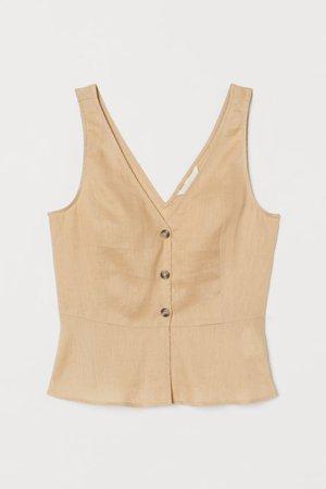 V-neck Linen Blouse - Beige - Ladies | H&M US