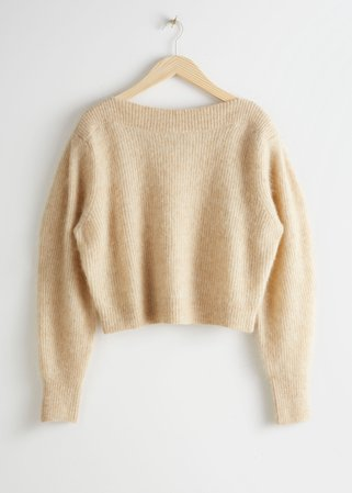 Wool Blend Boat Neck Sweater - Beige - Sweaters - & Other Stories