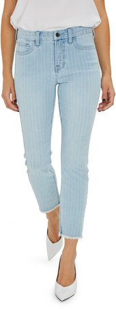 Frayed Ankle Straight Leg Jeans