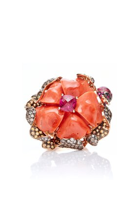 Coral Flower Ring by Wendy Yue | Moda Operandi