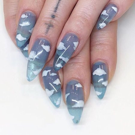 cloud blue nails