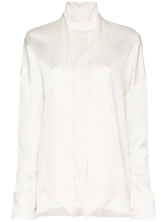 White Alexandre Vauthier Tie-Neck Exaggerated-Cuff Shirt | Farfetch.com