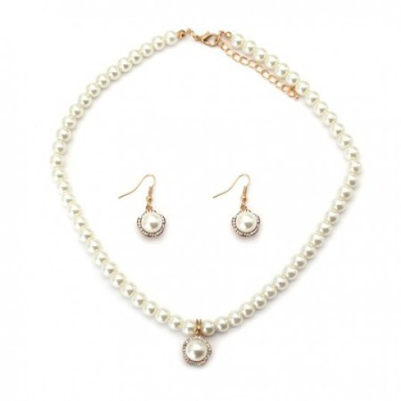 Gold Pearl Flower Necklace and Earring Set - Pearl Necklaces - Necklaces