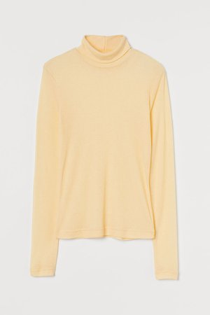 Fitted Turtleneck Top - Yellow