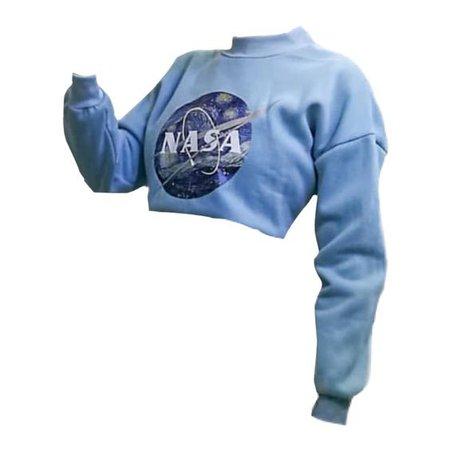 pastel blue starry night nasa logo sweater