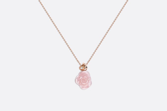 Rose Dior Pré Catelan necklace in 18k pink gold and pink quartz - products | DIOR