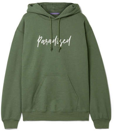 Paradised - Palms Printed Cotton-jersey Hoodie - Army green