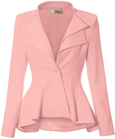 Women Double Notch Lapel Office Blazer JK43864 1073T Blush L at Amazon Women's Clothing store