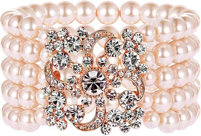 Amazon.com: BABEYOND 1920s Flapper Bracelet Art Deco Pearl Bracelet Great Gatsby Elastic Imitation Pearl Bracelet Roaring 20s Accessories Jewelry 5 Rows (Rose Gold): Jewelry