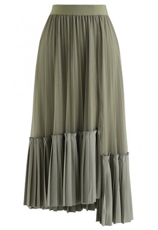 Mesh Asymmetric Hem Pleated Midi Skirt in Olive - Skirt - BOTTOMS - Retro, Indie and Unique Fashion