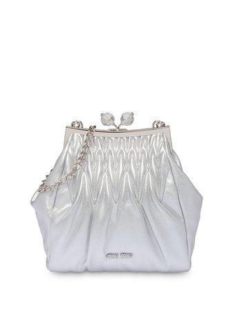 Miu Miu Matelassé Leather Clutch 5BK007VOMO2C9P Silver   Farfetch