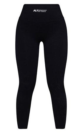 Black Side Detail High Waist Gym Leggings   PrettyLittleThing USA