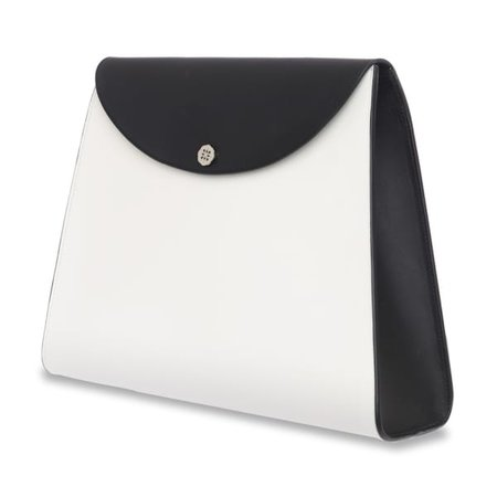 Pippa Oversized Leather Clutch Bag Black & White | C.Nicol | Wolf & Badger