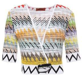 Cropped Boucle-knit Cotton-blend Top