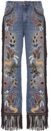 Etro Embroidered Straight-Leg Fringe Jeans