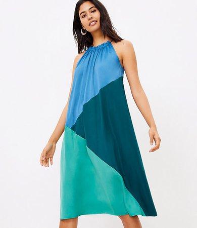 Colorblock Halter Midi Dress