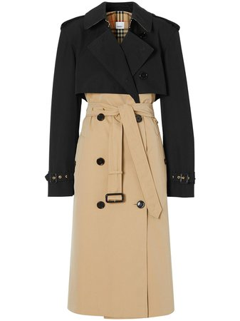 Shop black & neutral Burberry two-tone reconstructed trench coat with Express Delivery - Farfetch